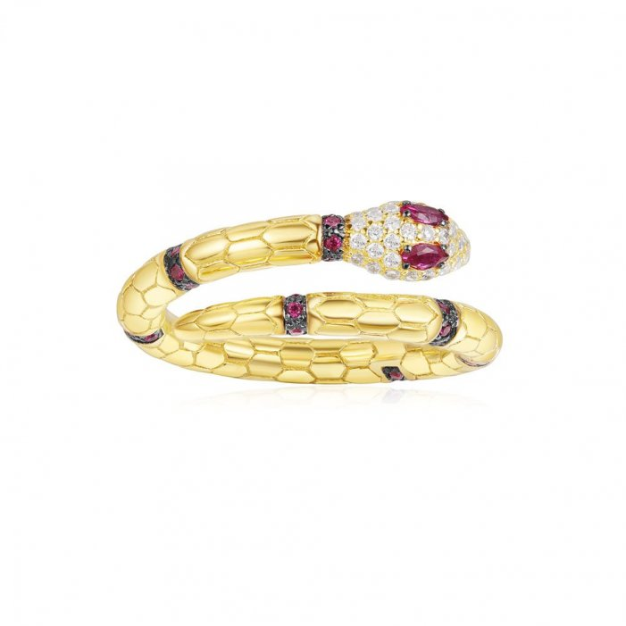 s10001000 A18486XKRY Prste APM MONACO Yellow Uraeus Ring With Corundum Ruby