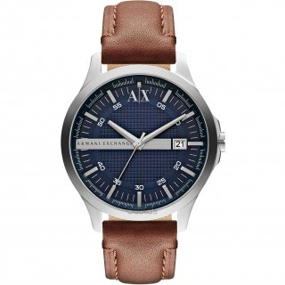 AX2133 Hodinky AX Navy Dial Brown Leather Mens Watch