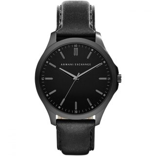 AX2148 Hodinky AX Black Dial Black Leather Strap Mens Watch