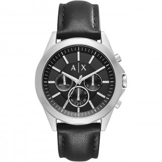 AX2604 Hodinky AX Black Dial Black Leather Strap