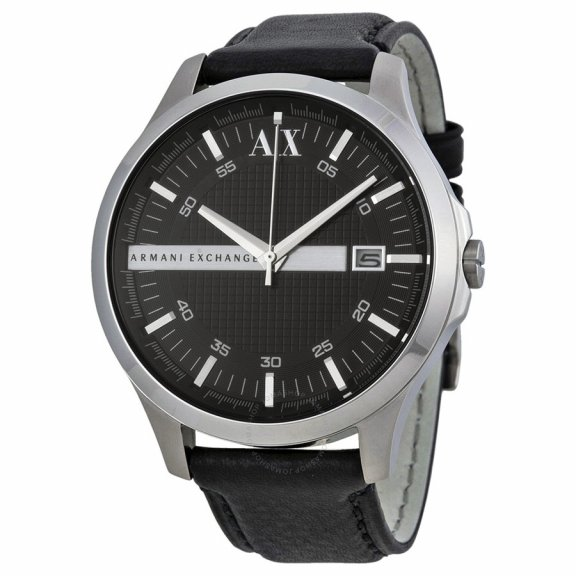 AX2101 Hodinky AX Whitman Black Dial Black Leather Mens Watch