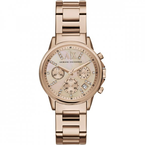 AX4326 Hodinky AX Chronograph Rose Mother of Pearl Dial Ladies Watch