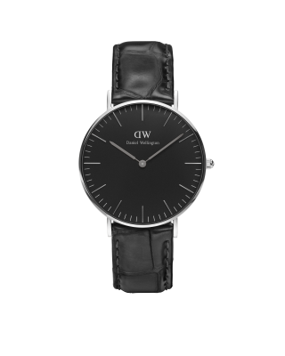 Hodinky DANIEL WELLINGTON Classic Black Reading Silver 36mm