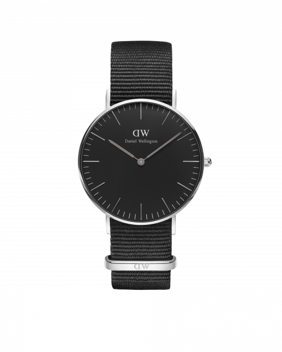Hodinky DANIEL WELLINGTON Classic Black Cornwall Silver 36mm