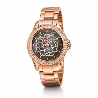 WF15B034BPK XX Ruzovo cierne hodinky FOLLI FOLLIE s kvetom Santorini