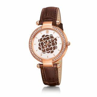 WF15B038SPB BR Hnedo ruzove hodinky FOLLI FOLLIE s kvetom Santorini