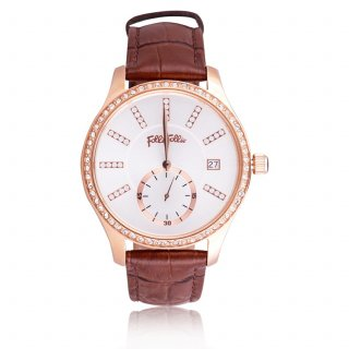 WF18B004STS BR Hodinky FOLLI FOLLIE Style Bonding Big Case With Stones Leather Watch