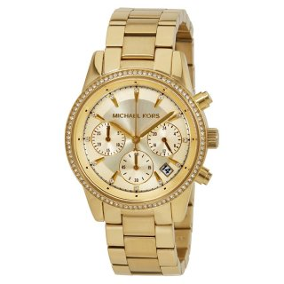 Hodinky MICHAEL KORS Ritz Chronograph Gold Dial Ladies Watch