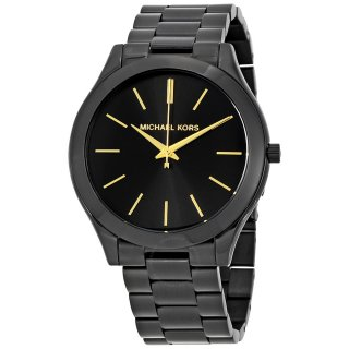 michael kors slim runway black dial unisex watch mk3221