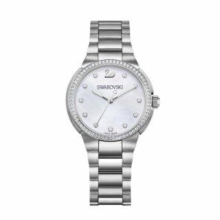 5221179 SWAROVSKI hodinky v striebornom prevedeni s perleou