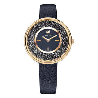 5275043 Hodinky SWAROVSKI Crystalline Pure Black Leather Strap