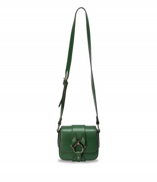 43030021 GREEN VIVIENNE WESTWOOD FOLLY SMALL SADDLE BAG.