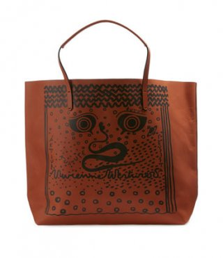 42020016 ORANGE Kabelka na rameno VIVIENNE WESTWOOD GREEK EYES LEATHER SHOPPER