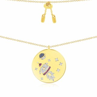 AC3868MY Nahrdelnik APM MONACO Yellow Rocket Pendant Necklace