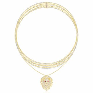 AC3897XKRY Nahrdelnik APM MONACO Yellow Lioness Necklace Multi Chain Necklace