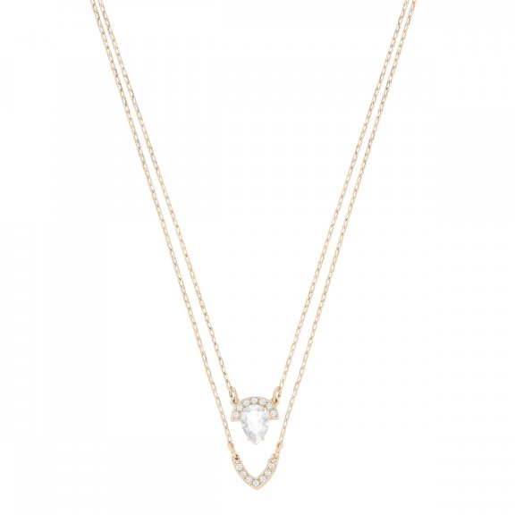 5278755 Nahrdelnik SWAROVSKI GALLERY PEAR LAYERED NECKLACE WHITE ROSE GOLD PLATING