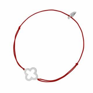 20805 red Cerveno strieborny naramok LEAF s kvetom