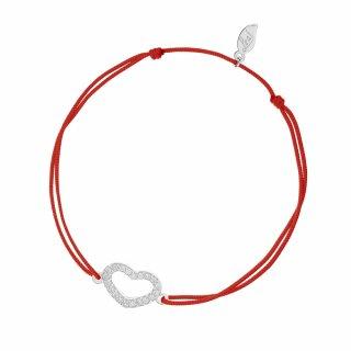 20862 red Cerveno strieborny naramok LEAF so srdieckom