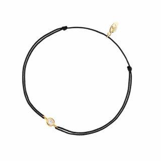 AB4058 Black Cierno zlaty naramok LEAF so zirkonom