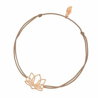 ab6245 beige Bezovo ruzovy naramok LEAF s lotosovym kvetom