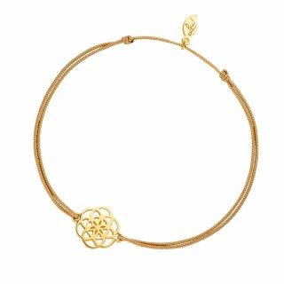 ab8057 beige Bezovo zlaty naramok LEAF s kvetinou