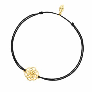 ab8057 black Cierno zlaty naramok LEAF s kvetinou