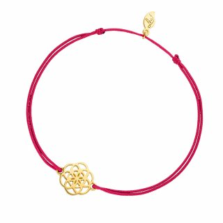 ab8057 fuchsia Fuchsiovo zlaty naramok LEAF s kvetinou