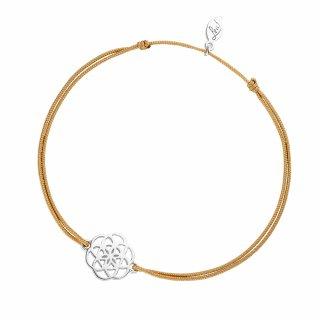 ab8157 beige Bezovo strieborny naramok LEAF s kvetinou
