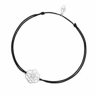 ab8157 black Cierno strieborny naramok LEAF s kvetinou