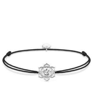 LS015 401 11 Cierno strieborny naramok THOMAS SABO s lotosovym kvetom