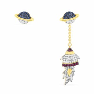 AE10555MY Nausnice APM MONACO Asymmetric Multi Colour Rocket Earring Set