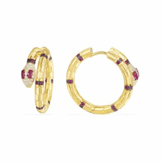 AE10570XKRY Nausnice APM MONACO Yellow Uraeus Hoop Earrings With Corundum Ruby