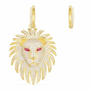 AE10604XKRY Nausnice APM MONACO Yellow Lion Statement Asymmetric Earrings With Corundum Ruby