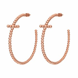1E17T003R Nausnice FOLLI FOLLIE Carma Beads Rose Gold Plated Hoop Earrings