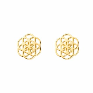 os8058 Zlate nausnice LEAF v tvare kvetiny
