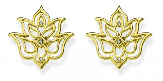 Zlate nausnice THOMAS SABO v tvare lotosoveho kvetu D H0007 924 39
