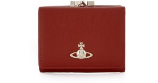 51010018 RED VIVIENNE WESTWOOD SAFFIANO WALLET WITH COIN