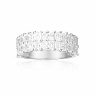 A17636OX Prste APM MONACO Double Line Baguette Stone Ring