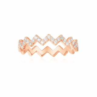 R17931OX Prste APM MONACO Pink Silver Up And Down Ring