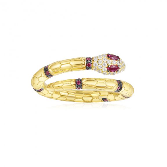 A18486XKRY Prste APM MONACO Yellow Uraeus Ring With Corundum Ruby