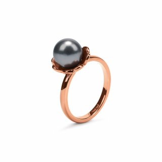 3R16T055RDA Prste FOLLI FOLLIE Grace Flair Rose Gold Plated Small Dark Gray Pearl Ring
