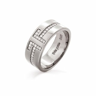 3R18S008C Prste FOLLI FOLLIE My FF Silver Wide Band Ring