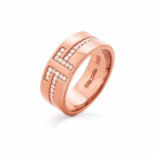 3R18S008RC Prste FOLLI FOLLIE My FF Rose Gold Plated Wide Band Ring