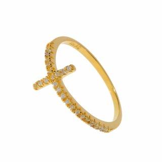 r3097 Zlaty prste LEAF s krizom so zirkonmi